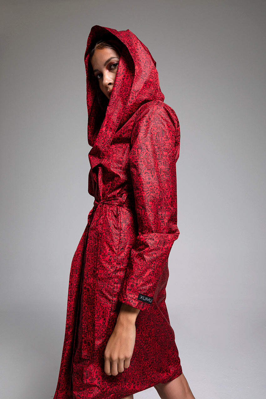 Fraction, a doodled red raincoat
