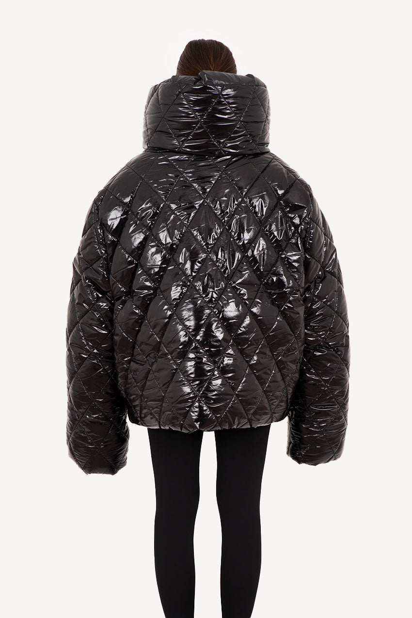 Glossy black broad quilted giant puffer coat
