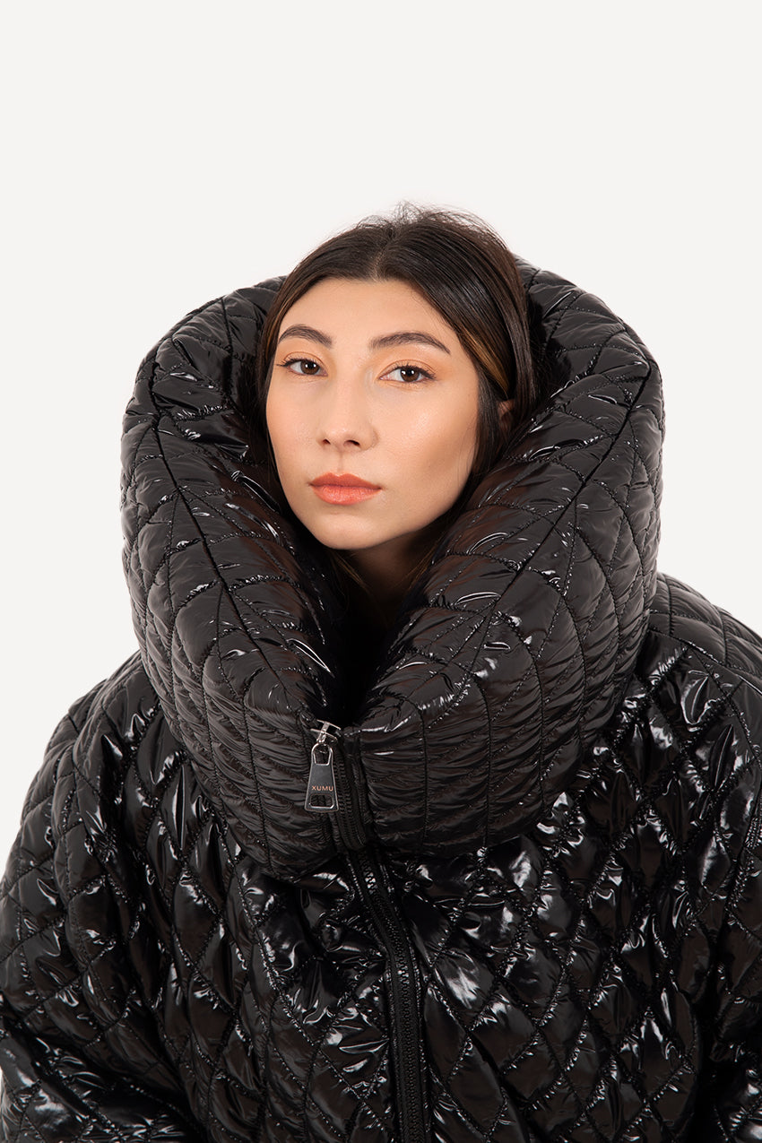 Glossy black narrow quilted giant puffer coat