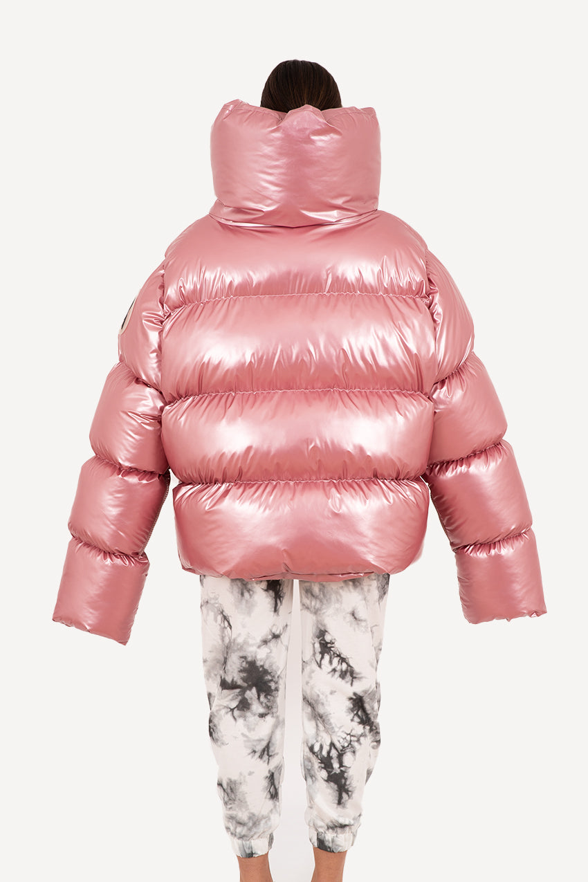 Glossy candy pink giant puffer coat