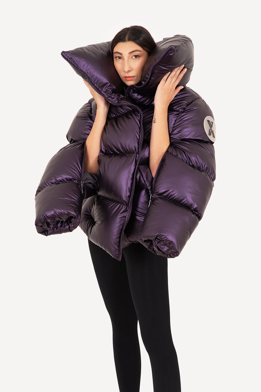 Intense purple giant puffer coat