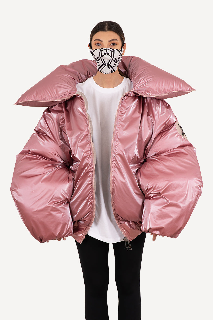 Luftkuss, candy pink giant puffer coat with an elastic waistband