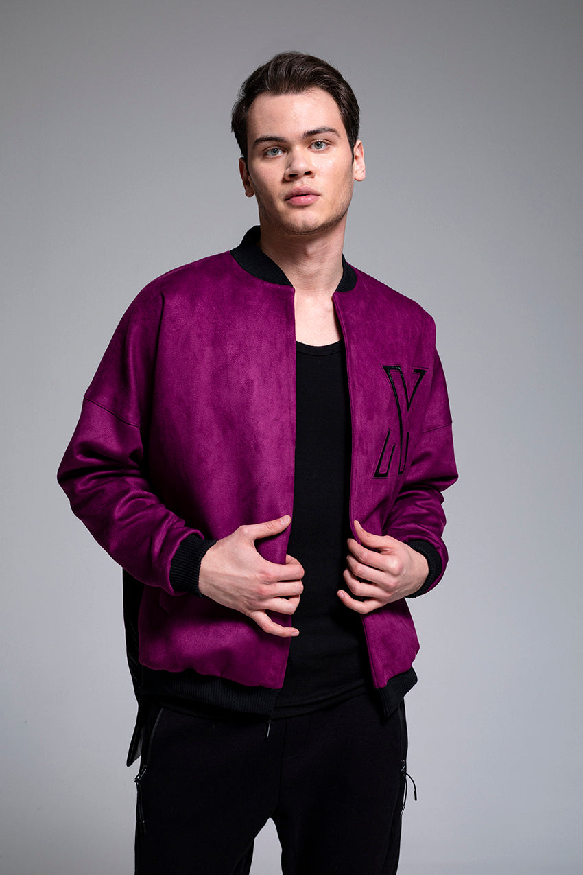 Lunar, a suede college jacket in purple