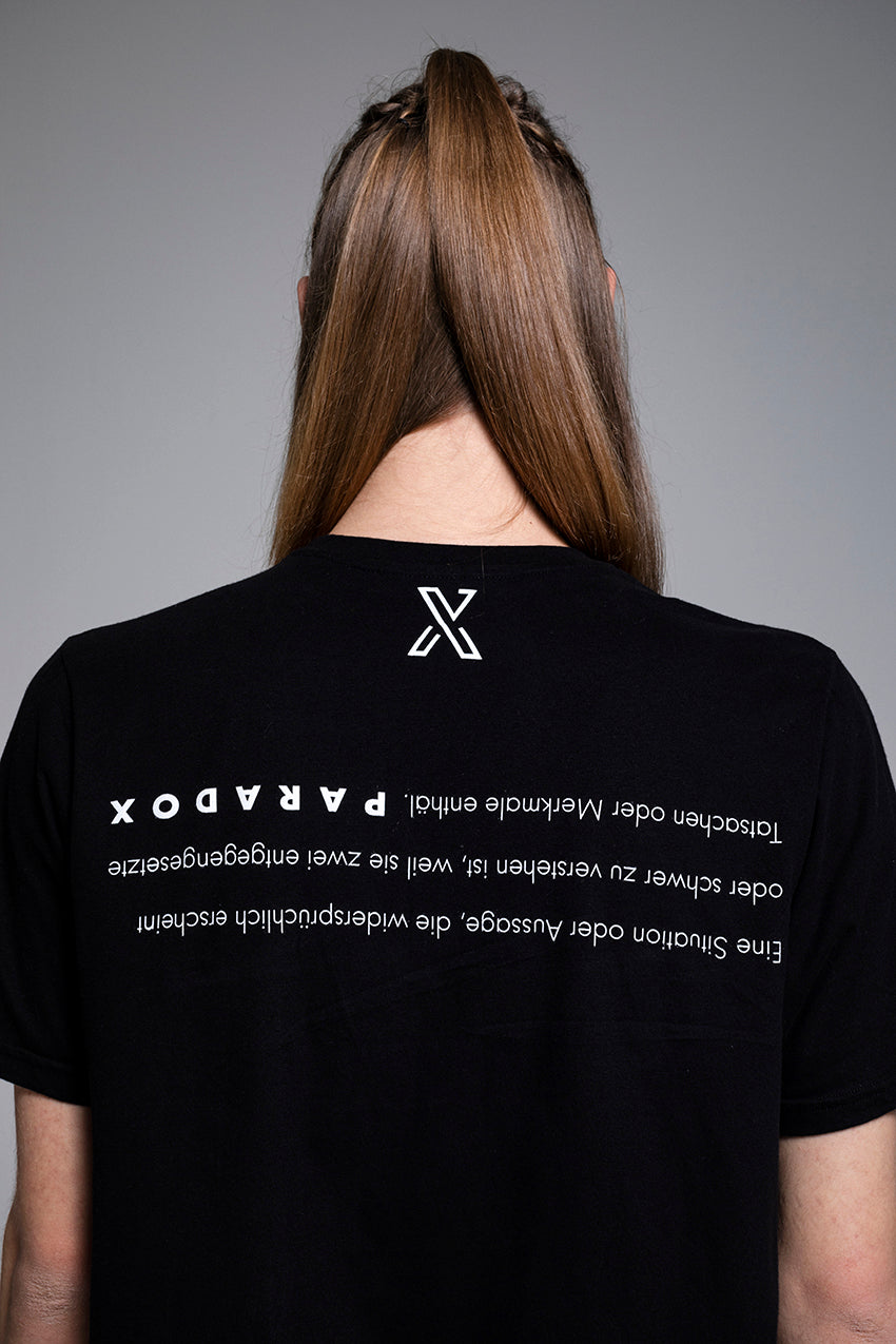 Paradox, a cotton black t-shirt with prints on both sides