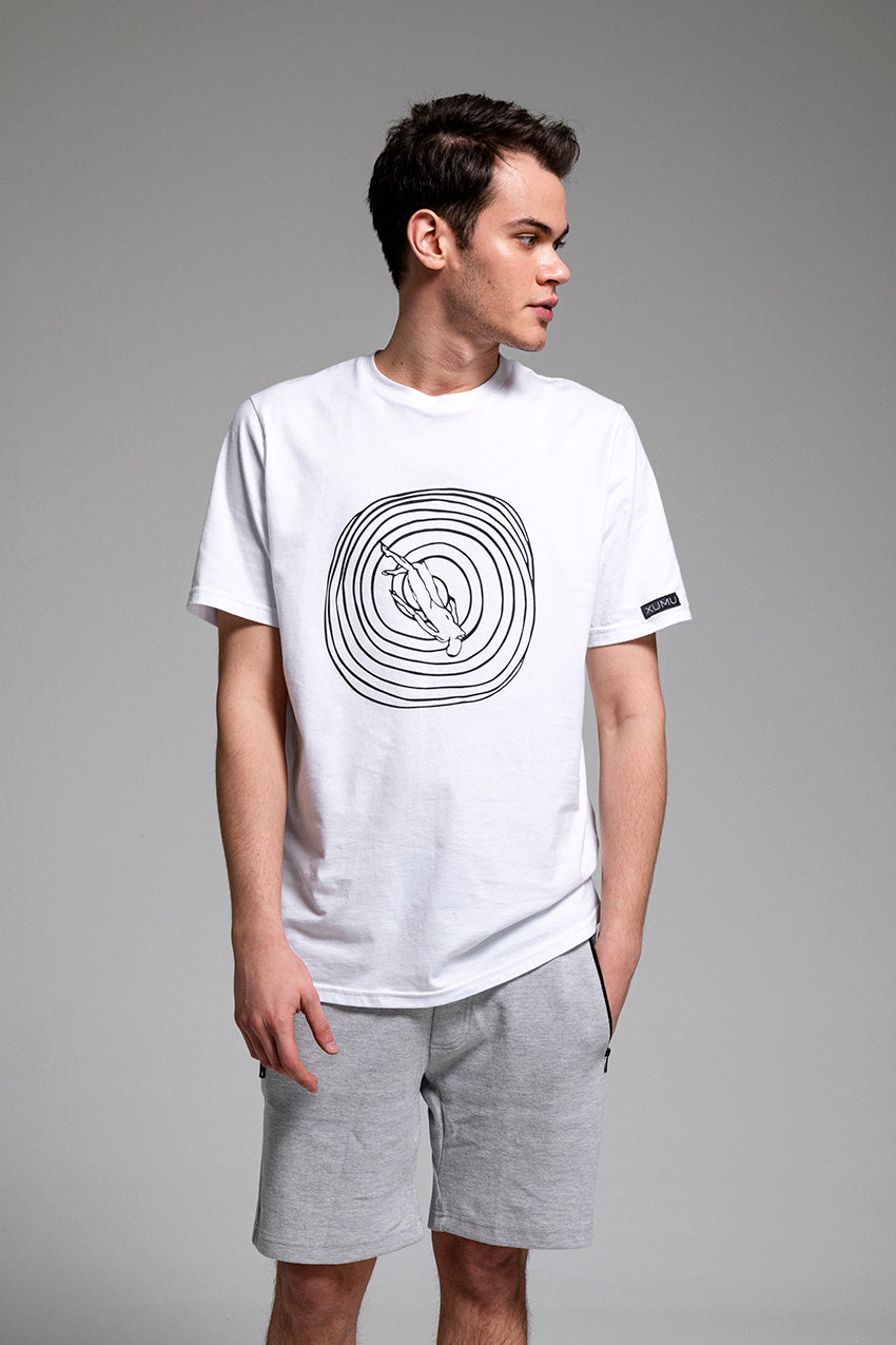 Perdurant, a cotton white t-shirt with ultraviolet print