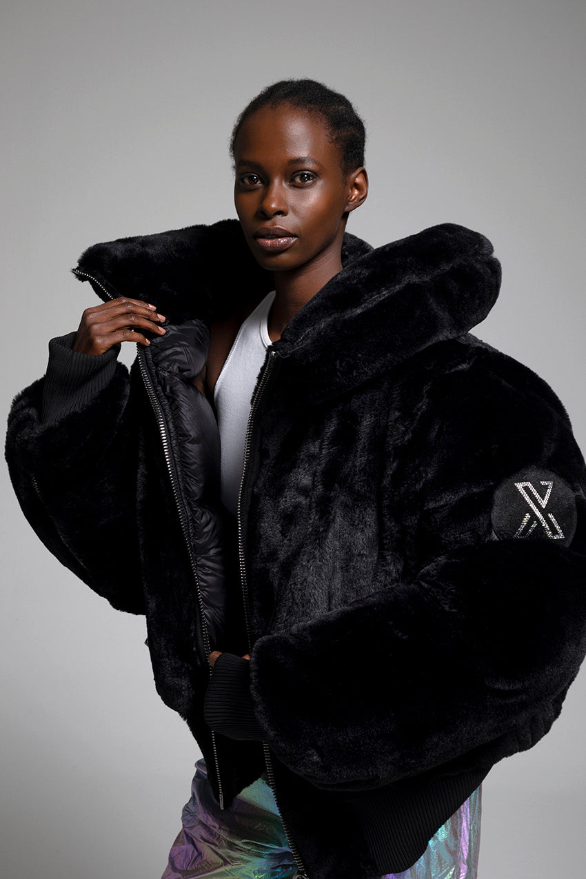 Sultana, a giant plush coat adorned with Swarovski crystals