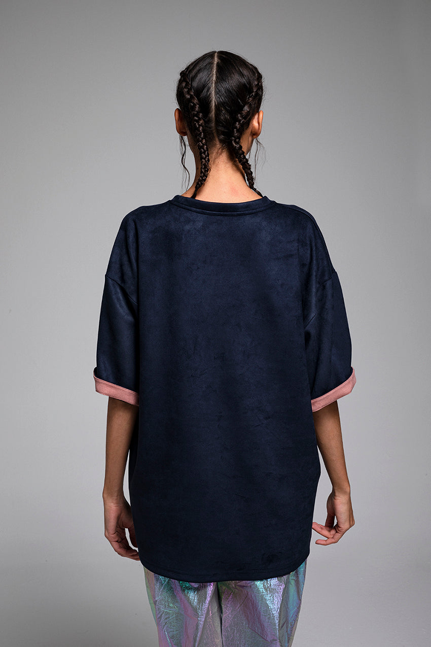 Tachyon, a suede t-shirt in dark blue