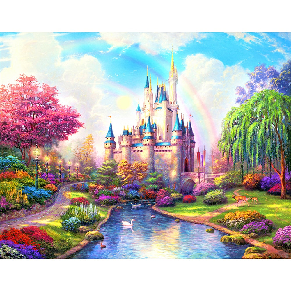 Pink Fantasy Castle 5D Diamond Painting
