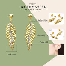 Load image into Gallery viewer, Vintage Feathers Dazzling Cubic Zirconia Drop Earrings