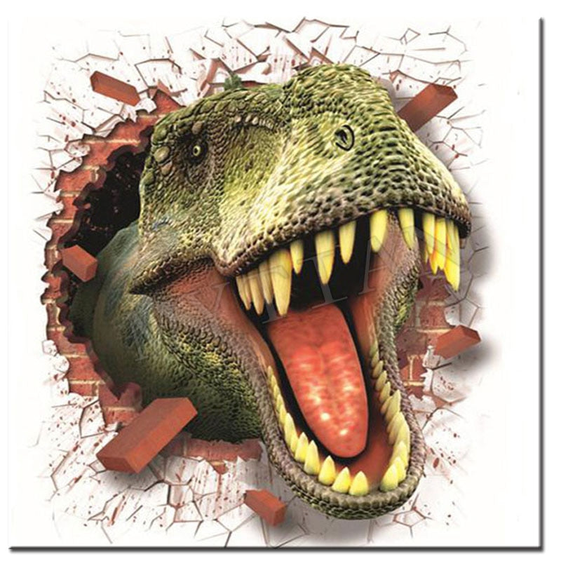 T Rex Through Wall 5D Diamond Painting Kit