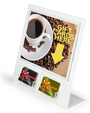 white acrylic gift card holder