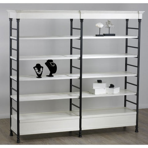 Double Wide Etagere - Distressed White