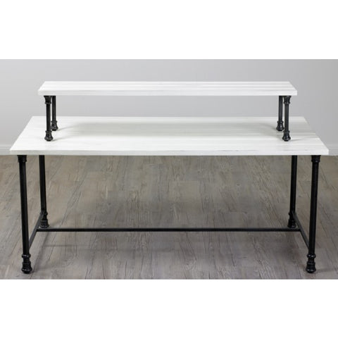 two tables riser white