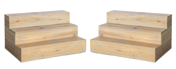 Pair of 3 Step Wood Displays
