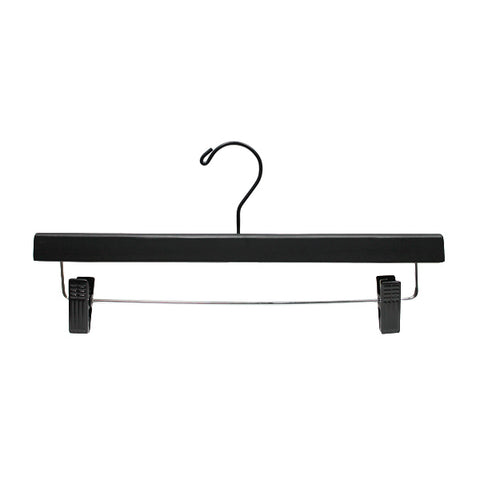 Wood pants hangers black with black hooks