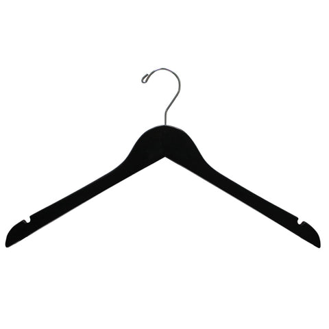black wooden top hanger with black hook