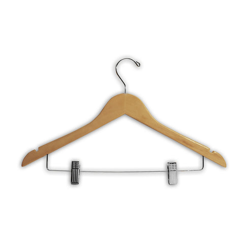 "Image of HW03 Series - 17"" Wood Suit Hanger with Clips"