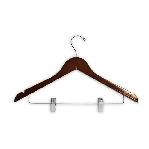 "HW03 Series - 17"" Wood Suit Hanger with Clips"