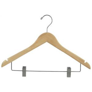 Image of budget wood hanger w clips