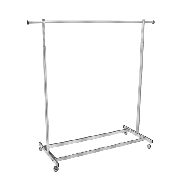 Single Chrome Rolling Rack-Rectangular Tubing
