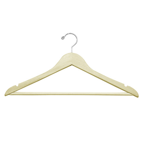 "HW02 Series - 17"" Wood Top Hanger with Pant Bar"