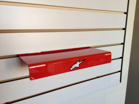 slatwall shelf for boots red