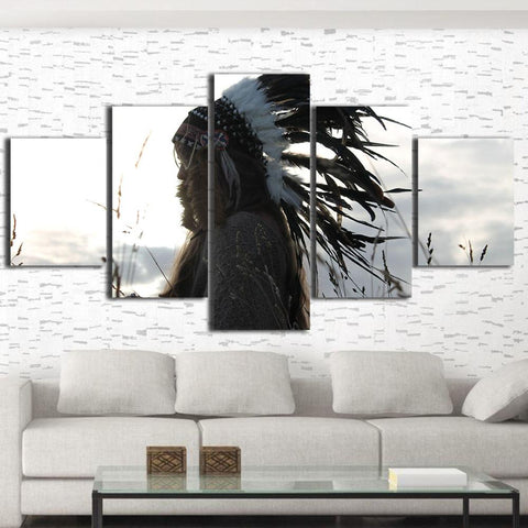 Native American Indian HD Printing Framed Canvas Set Wall Art Home ...