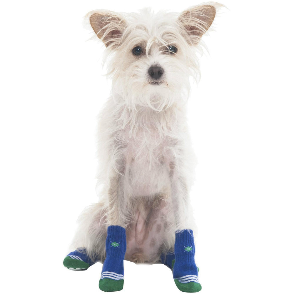 Argyle Slipper Dog Socks - Blue