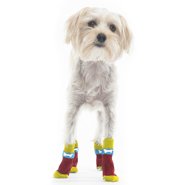 Bone Slipper Dog Socks - Red