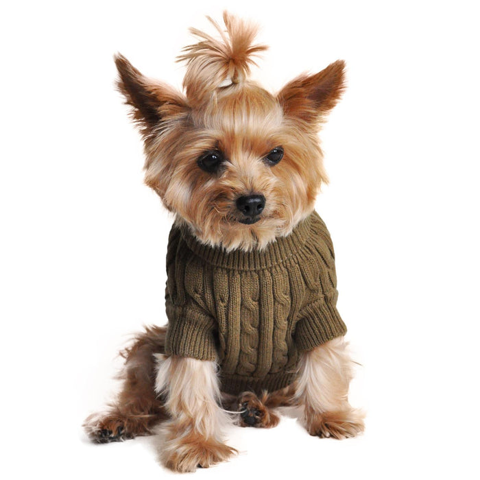 Cable Knit Dog Sweater by Doggie Design Herb Green