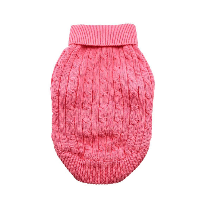 Cable Knit Dog Sweater by Doggie Design Candy Pink