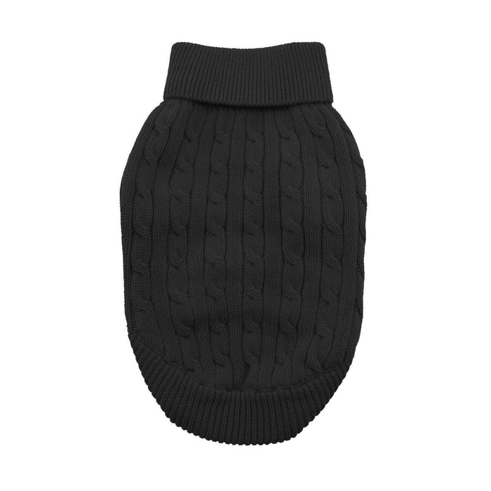 Cable Knit Dog Sweater by Doggie Design Jet Black
