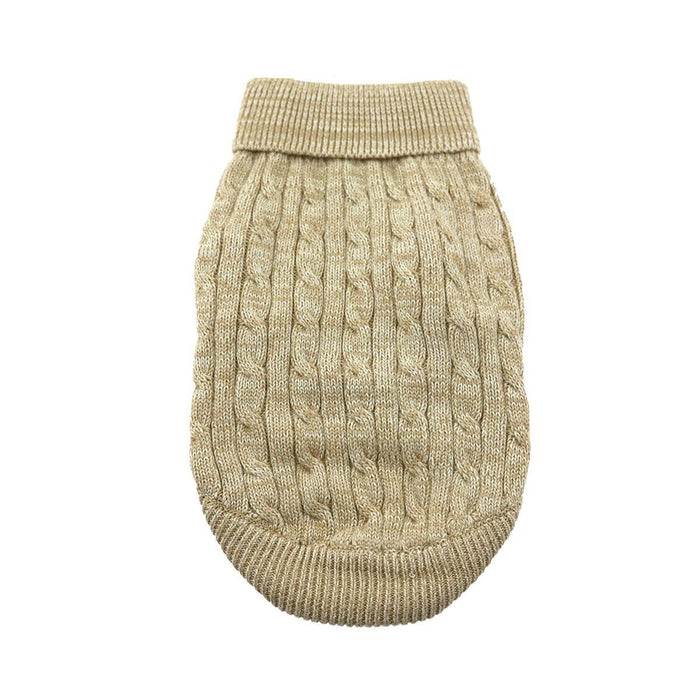 Cable Knit Dog Sweater by Doggie Design Oatmeal
