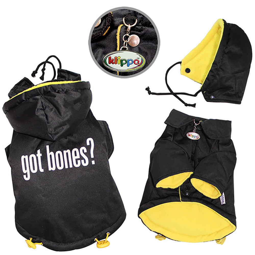 Got Bones? Padded Dog Coat with Removable Hoodie