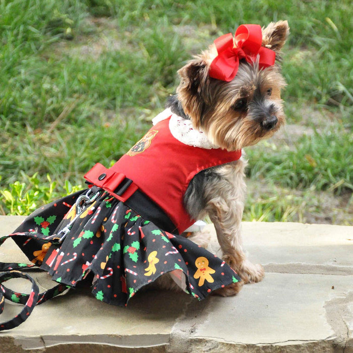 Gingerbread Harness Dress with Matching Leash by Doggie Design