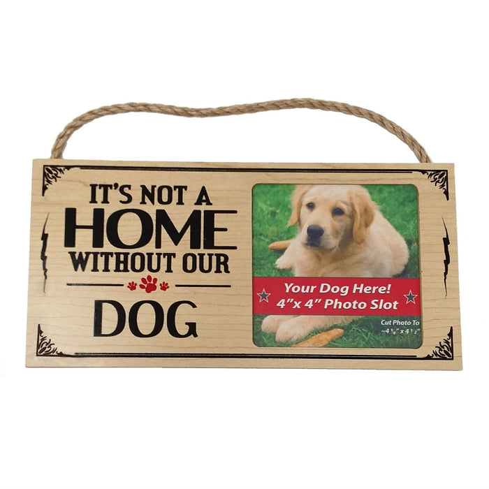 Wooden Dog Sign with Photo Slot