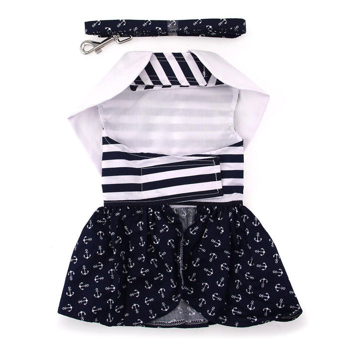 Nautical Doggie Dress with Matching Leash