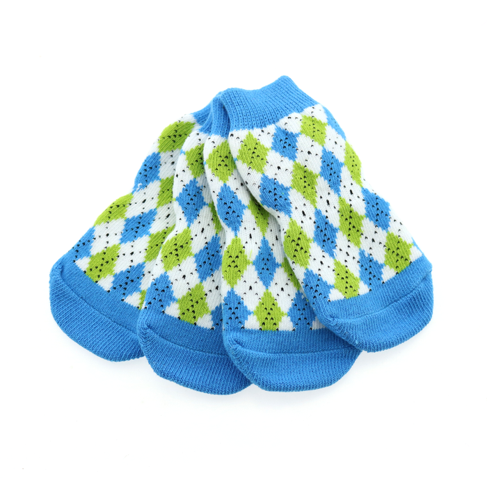 Non-Skid Dog Socks - Blue and Green Argyle