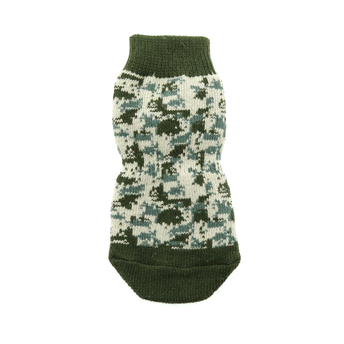Non-Skid Dog Socks - Green Camo