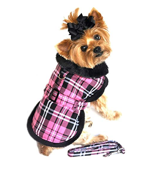 Hot Pink Plaid Doggie Harness Coat w/ Matching Leash