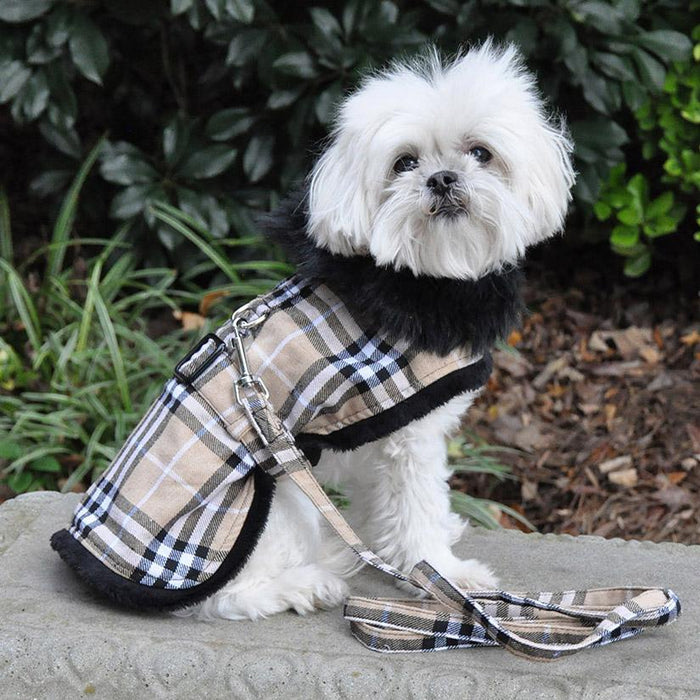 Brown Plaid Classic Doggie Harness Coat with Matching Leash