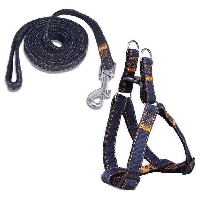 Denim Step In Harness + BONUS Leash