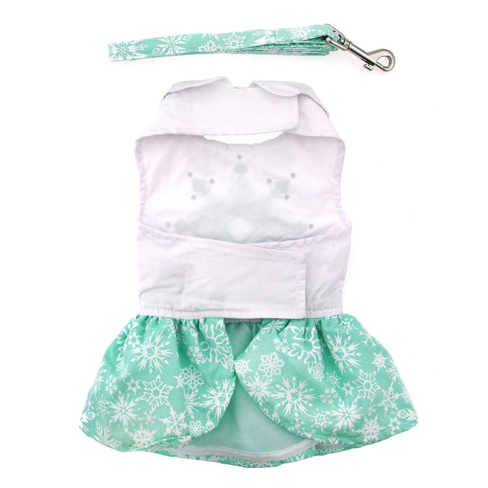 Turquoise Crystal Doggie Dress with Matching Leash