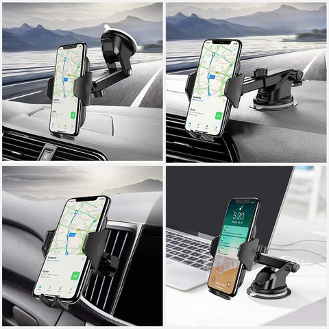 763e0c5089fd43 [Multi-function Cell Phone Holder] 3 in 1 multiple functions car phone  holder, works for dashboard windshield air vent. One small car mount feeds  your ...