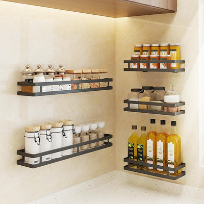 Kitchen Condiment Storage Rack Wall-mounted Seasoning Shelf Black Stainless Steel Spice Rack Punch Free