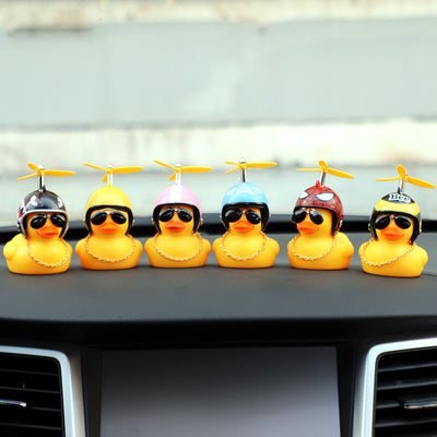 Car Lights Lovely Rubber Duck Squeeze Helmet Propeller Car Lamp