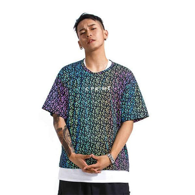 Refractive T-Shirt Hip Hop 2019 New Street Dance Electro-optic Sports Short Sleeve