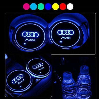 LED Car Logo Cup Holder Pad, Built-in Light 7 Colors Changing USB Charging Mat, LED Cup Mat, Car Atmosphere Lamp 2PCS