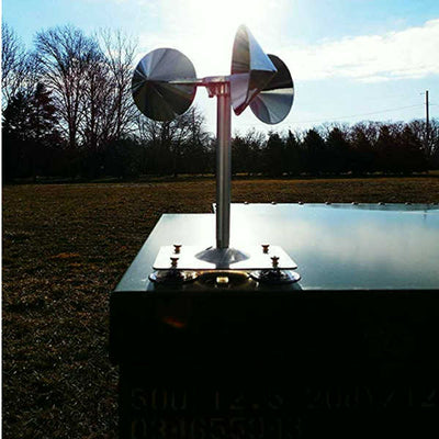 Wind-powered spinning visual bird deterrent, effectively scares birds away