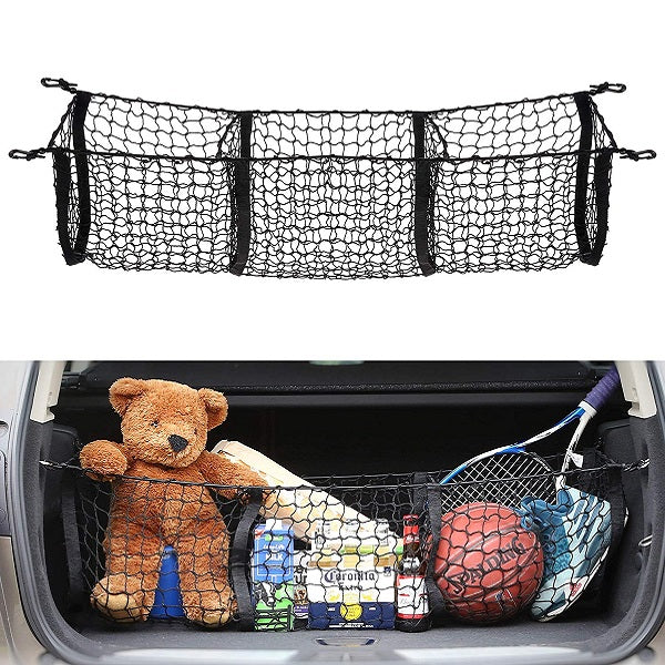 Truck Bed Cargo Net >> 3 Pocket Cargo Net Trunk Organizer 45 By 16 Inch Stretchable Truck Bed Storage Mesh
